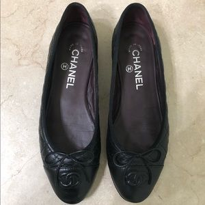 Chanel Quilted Black Leather CC Flats Size 37